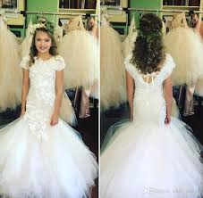 Flower Girls Dress Shoes - 2017 mermaid lace arabic flower dresses tulle child