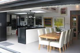 Open Plan Kitchen Diner Ideas Open Plan Kitchen With Bi Fold Servery Window And Bi Fold Doors