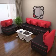 red and black coffee table bharat lifestyle butterfly leatherette 3 1 1 5 seater sofa set red