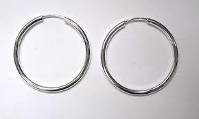 2 5cm wide sterling silver 1 5mm thick tubular sleeper hoop earrings