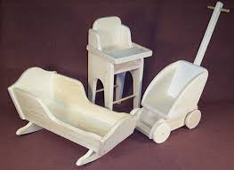 Wooden Doll High Chair Wooden Toy Doll Furniture Cradle High Chair Stroller