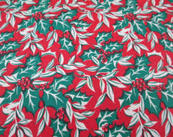 vintage wrapping paper 4 yards 1950s poinsettia vintage wrapping paper green