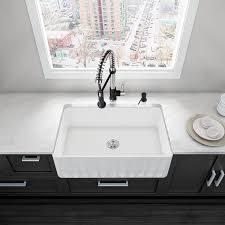 Kitchen  Modern Kitchen Sink Design Apron Sink Kraus Zero Radius - Porcelain undermount kitchen sink