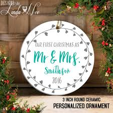 Personalized Ornaments Wedding Our First Christmas As Mr And Mrs Personalized Christmas Wreath