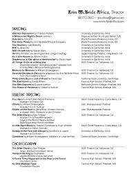 Musical Theatre Resume Examples by Technical Theatre Resume Template Examples