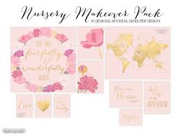 Map With States by 10 Designs Nursery Makeover Pack Digital Download Pink Blush
