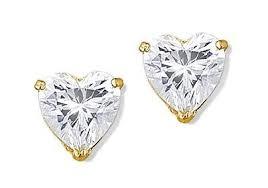 gold earrings in shape 14k yellow gold heart shape cz solitaire stud earrings earrings