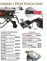 sawstop professional cabinet saw 1 75 hp klingspors woodworking catalog 2018 vol 174 page 55
