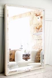 Beveled Mirror Industrial White Metal Beveled Mirror Large Omero Home