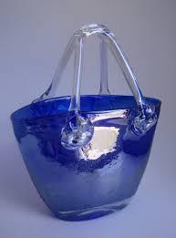 Murano Glass Purse Vase Vintage Italian Cobalt Blue Vases Cobalt Blue Irdescent Hand