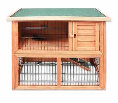 Pet Hutch Dual Level Rabbit Guinea Pig Pet Hutch Outdoor House Fir Wood