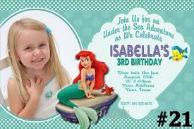 ariel invitations the little mermaid birthday party invitations