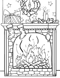 free christmas fireplace coloring