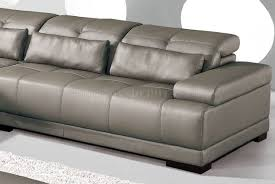 genuine leather sectional sofa w adjustable headrests grey genuine leather sectional sofa w adjustable headrests