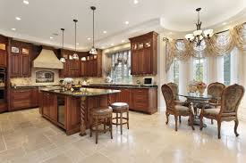 Eat In Kitchen Designs Tiled Basement Has Beautiful Color Contrast With Mini Kitchen Bar