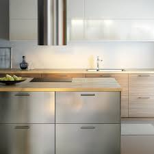 Modern IKEA Kitchen With Wooden Worktops And A Combination Of - Ikea stainless steel kitchen cupboard doors