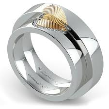 Wedding Ring Set by Matching Heart Fingerprint Inlay Wedding Ring Set In Platinum And