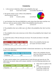 Experimental Probability Worksheet Probability Level 5 Worksheet By Dannytheref Teaching Resources