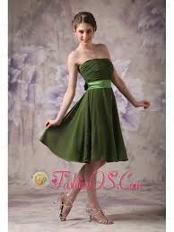 cheap olive green cocktail dress empire strapless chiffon sash