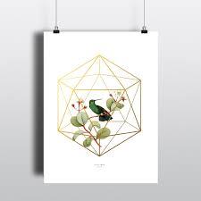 botanical bird gold icosahedron cage instant download