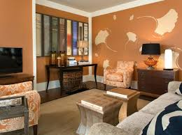 living room floral theme wallpaper in pale orange color armchair