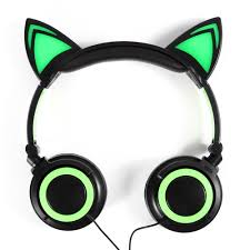 light up cat headphones led cat ear wired cute headphone big gaming luminous earphone