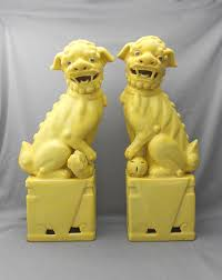 fu dogs for sale pair of vintage 1950s signed yellow ceramic foo dogs in home decor