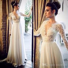 deep v neck beach wedding dresses with long sleeves lace