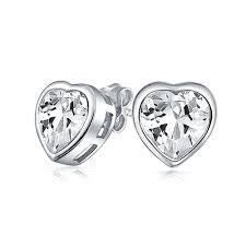 heart stud earrings cubic zirconia bezel setting heart stud earrings 7mm