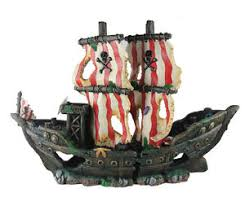 2 sunken pirate ship fish tank ornament aquarium decoration
