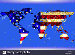World Map Cartoon by Blue Illustrated World Map Abstract Texture Lines American Flag