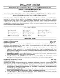 Job Resume Builder by Senior Management Executive Manufacturing Engineering Resume