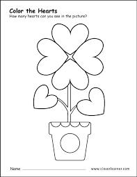free heart shape activity worksheets preschool children