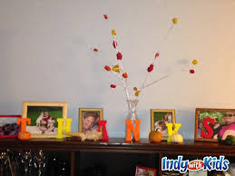 thanksgiving centerpieces or mantel decor kids can make
