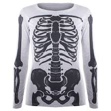 womens halloween costume t shirt ladies skeleton bones fancy dress