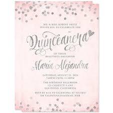 quinceanera invitations quinceañera invitations blush pink silver confetti diy