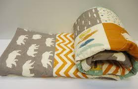 Baby Nursery Fabric Modern Baby Boy Quilt Rustic Baby Bedding Organic Birch