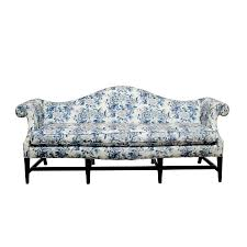 Colonial Settee Chippendale Style Camelback Sofa With Chinoiserie Upholstery By