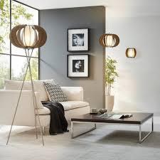 Standleuchten Wohnzimmer Beleuchtung Licht Trend Stehleuchte Rift ø 50cm Mit Holzschirm Braun Online