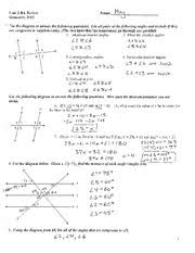 transversal and parallel line review with answers