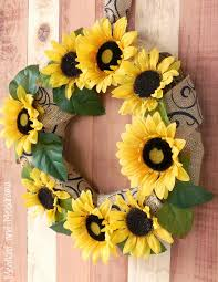 burlap sunflower wreath simple but attractive sunflower wreaths home design by