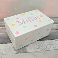childrens boxes personalised children s keepsake memory box painted wooden
