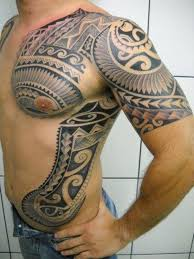 men chest and upper sleeve with rib side hawaiian tribal tattoo