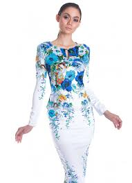 baju kurung modern untuk remaja mek kembang cotton