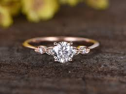 stone bands rings images 0 5 carat round moissanite engagement ring diamond 14k rose gold jpg