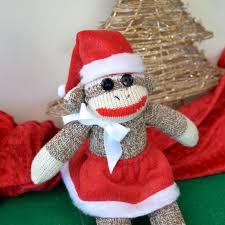 mrs santa claus sock monkey monkey