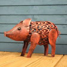 smart garden pig metal animal patio solar light lighting ornament