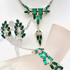rhinestone necklace bracelet images The jewelry lady 39 s store art deco emerald green necklace JPG
