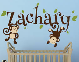 Nursery Monkey Wall Decals Boys Monkey Name Decal Monkey Decal Swinging Monkey Decal