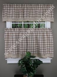buffalo check kitchen tiers valances u0026 curtain panels u2013 taupe